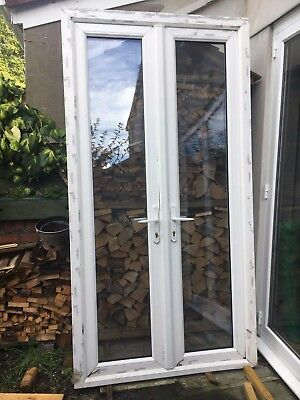 ANGLIAN French double glazed DOORS UPVC 235.5cm x 123.5cm frame + 6 Yale keys