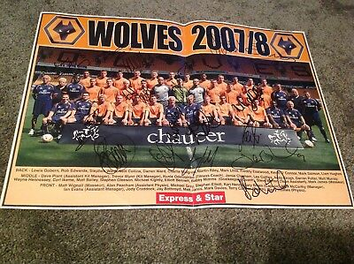 Wolverhampton Wanderers 2007/8 Team Picture Signed By 18 Players