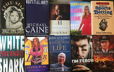 Ten Signed Books George W Bush Shirley Temple John Wooden Michael Caine Tebow ++