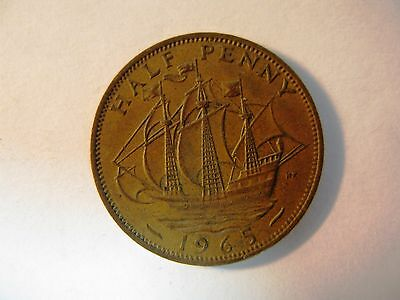 Old British Half Penny Copper Coin 1965 Qe2 Hapenny Unusual Gift Collectors Item