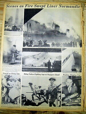 1942 newspaper w photos DISASTER Ocean liner SS NORMANDIE BURNS at NY City pier