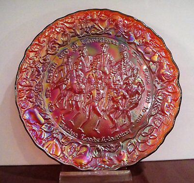 Imperial Lenox Carnival Glass Iridescent Red Plate 12th Day Of Christmas NIB