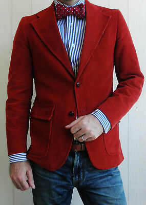 SAKOWITZ Mens VINTAGE Red Two-Button Corduroy 1970s Sport Coat 34S Slim