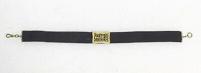 Victorian Mourning Watch Fob  Black Ribbon  With 14K Gold