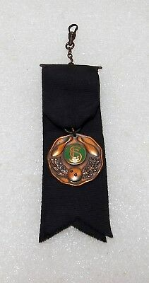 Vintage / Antique Bowling Medal Fob From 1916-1917 On A Black Ribbon