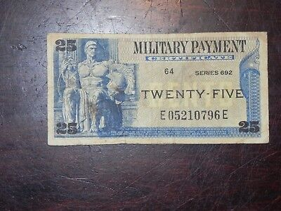 US Military Payment Certificate – Series 692 – 25 cents (JCcug 17255) Circulated