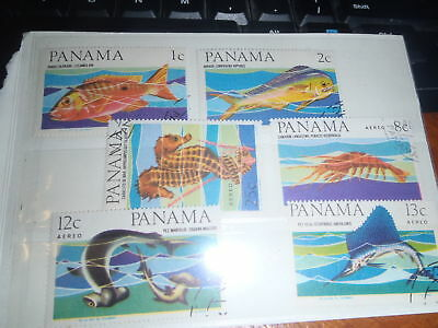 2 sets 6 Panama stamps 1, 2, 8,12,13, 25 c. Franked. Sea creatures and Birds