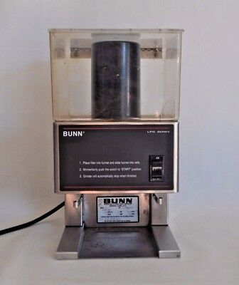 BUNN LPG Coffee Grinder 6 lbs Single Hopper 20580.0001 Commercial Low Profile