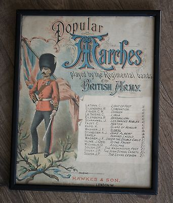Marches by Regimental Bands of the  British Army Vintage Print