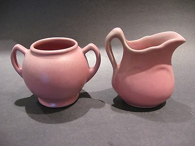 Vintage Niloak Art Pottery Crean and Sugar Set Matt Maroon Glaze