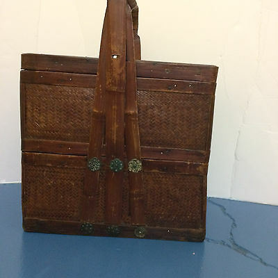 Antique Chinese 2 tiered picnic basket, with bamboo handle and trim.