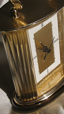 Bulova Clock / Quartz /gold Tone / Mantel /alarm /phosphorus / Top Quality
