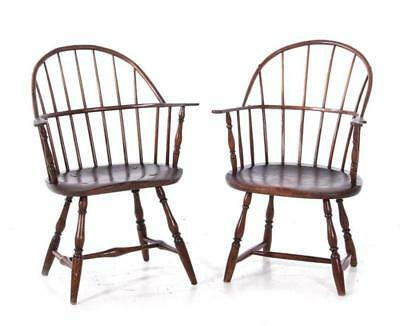Near pair American sack-back maple and oak Windsor armchairs Lot 128