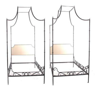 Pair Charleston Forge wrought-iron canopy beds (2pcs) Lot 130