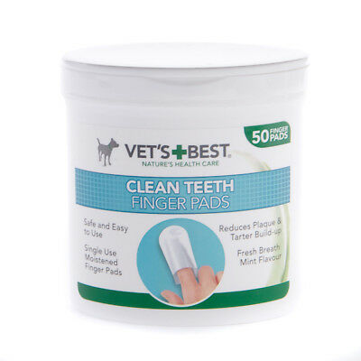 Vets Best Clean Teeth Finger Pads Moist Wipes Mint Flavour Reduce Plaque x50