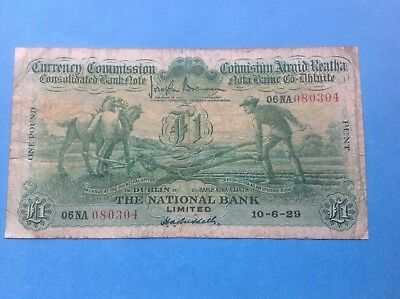 "Ireland ""ploughman"" National Bank One Pound Note 10-06-1929 V.fine Condition"