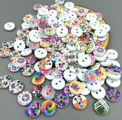 100pcs Mini Mixed patt  Wooden Buttons Fit Sewing scrapbook Embellishment 11.5mm