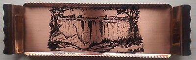 Vintage Hand-made Arts and Crafts Engraved Copper Serving Tray signed R.I.I.