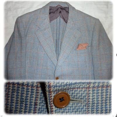 1940s tweed jacket 42 30s sportcoat blazer pow check wool suit plaid union vtg