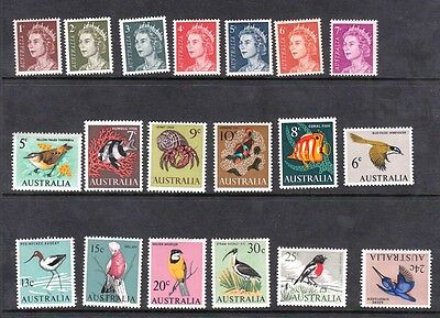 1966 Australian Decimal stamps - Definitives QEII, Sealife & Birds MNH set of 19