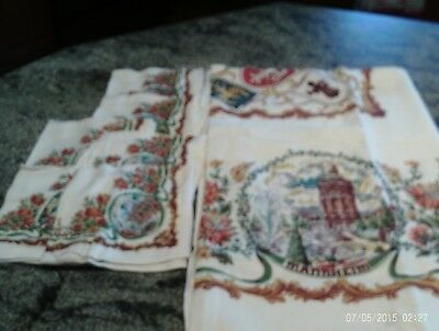 VINTAGE 1958 TABLECLOTH  Printed with German Towns & Crests & 6 Napkins