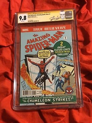 L@@k~Cgc Ss 9.8~Amazing Spider-Man #1~True Believers Varaint~Signed By Stan Lee~