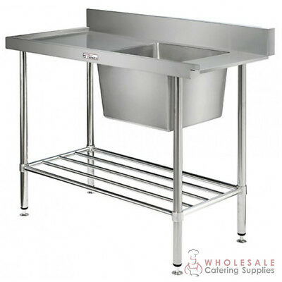 Single Sink Bench w Dishwasher Inlet 1200x600x900mm Left Side Simply Stainless
