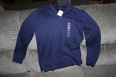 Boys POLO Ralph Lauren 1/2 Zip Pull over sizeLge 14-16 navy Blue New with tags