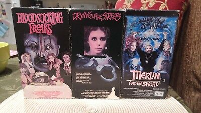 Bloodsucking Freaks-Merlin And The Sword-Drying Up The Streets Vhs Horror Vestro