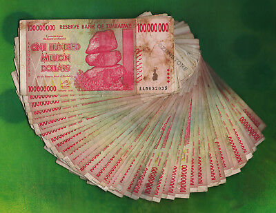 50 x 100 Million Zimbabwe Dollars Bank Notes AA 2008 ½ Bundle 50PCS Heavily Used