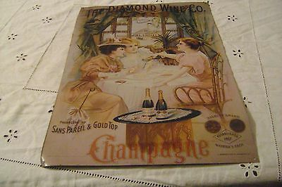 """Vintage-THE DIAMOND WINE CO. Tin Metal Sign-approx. measure=12""""x 17"""""""