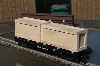 Handmade S gauge flat car load 2 handmade wood crates  (load only)