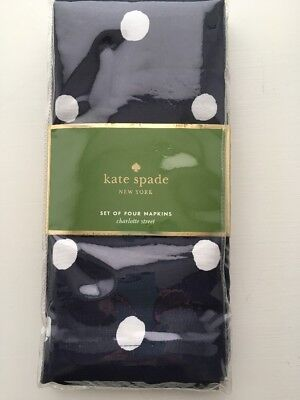 Kate Spade Charlotte Street Napkins Set of 4 Navy Blue White Polka Dot NEW!
