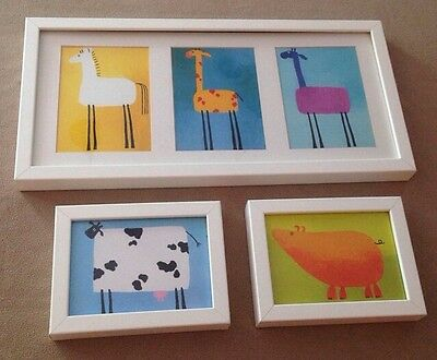 "Children's Decor Farm Animal Wall Art Plaque Set of 3; 20 3/4x10"" and 8x6"" Cute"