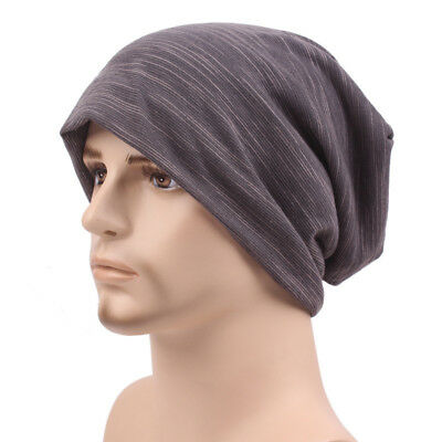Autumn&Winter Knitted Hat Beanies Cotton Relaxed Stripe Unisex Hedging Cap Hats