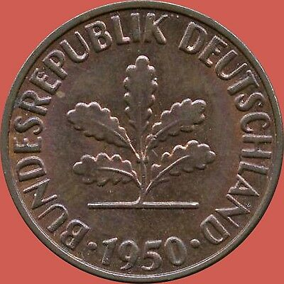 "1950 'G' Germany 2 Pfennig Coin ""CHOICE"""