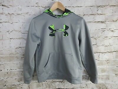 Under Armour Youth Hoodie Size YMD Grey Neon Green Black Logo Print Sweatshirt