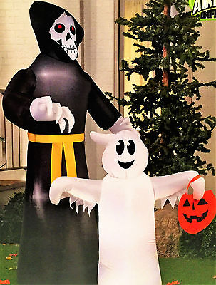 7 ft tall, Reaper and Ghost. Airblown Inflatable. Lights Up. BNIB Halloween