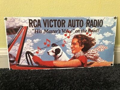 Vintage Rca Victor Auto Radio Porcelain Sign 13.5 X 7 Masters Voice On The Road