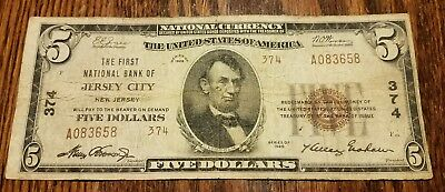 JERSEY CITY NJ 1929 TYPE 2 $5 BILL National Bank Note (Charter #374) VERY RARE