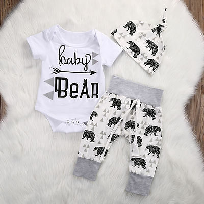 USA 3Pcs Newborn Infant Baby Boy Girl Clothes Bear Tops+Pants Toddler Outfit Set