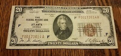 1929 $20 Federal Reserve Bank of Atlanta Note TRUE AUCTION WITH NO RESERVE