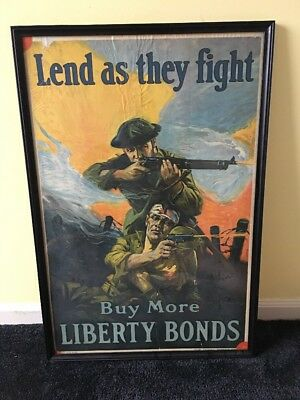 Rare Ww1 Army 1918 Poster Lend As They Fight Buy More Liberty Bonds 30 X 20