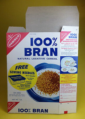 Vintage 1950's NABISCO 100% Bran CEREAL BOX FLAT UNUSED NOS English & French