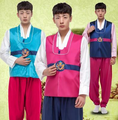 Korean Mens Slim Fit Traditional Ethnic Clothing Dance Gown Costumes Hanbok H717
