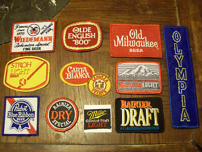 Lot Of 11  Beer Patches Olympia Old Milwaukee Strohs Rainier Olde English
