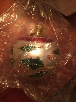 New With Tags Christopher Radko Painted Ball Ornament Holly 1991