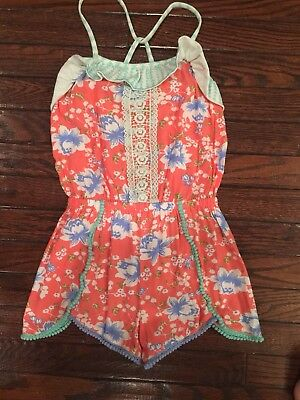 EUC Matilda Jane Tropical Butterfly Floral romper Size 8