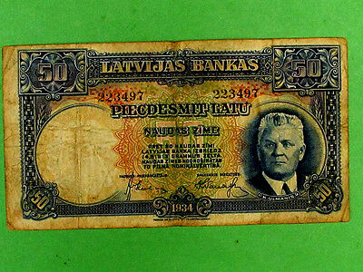 LATVIA 1934, 50 Lats Collectable Banknote. Fine