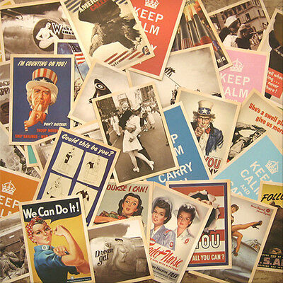 Retro 32pcs 14cm x 10cm Vintage Postcards World War Ⅱ Photo Poster Cards